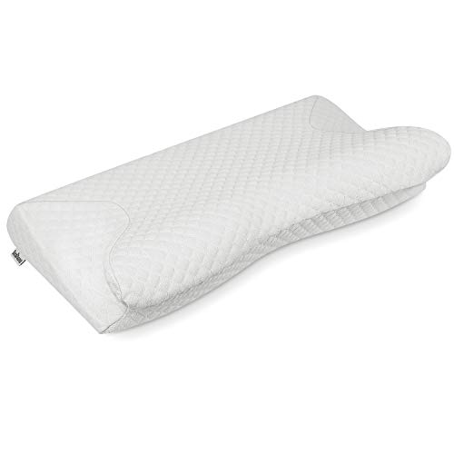 Samyoung Memory Foam Pillows for Sleeping, Contour Cervical Pillow for Neck Pain, Ergonomic Orthopedic Support Pillows for Side, Back and Stomach Sleepers, 23.6' 12.6' 4.9'/3.1'