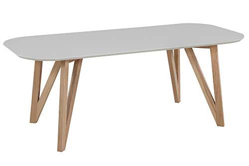 Eettafel 120x80 cm rechthoekig tafelblad mat massief eikenframe modern 200x90 cm grijs