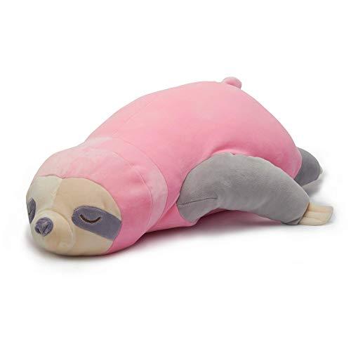 Nuffeldöns Kuscheltier Nackenkissen Stillkissen Schwangerschaftskissen Faultier Kissen für Kinder Stofftier sehr weich und flauschig (Rosa, 55)