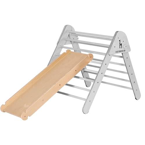 Montessori Kid Rutschbrett Hühnerleiter und Kletterwand für Pikler Dreieck Nachhaltiges Holz Kinder Rutsche für Kletterdreieck Klettergerüst Sprossenwand 115 cm