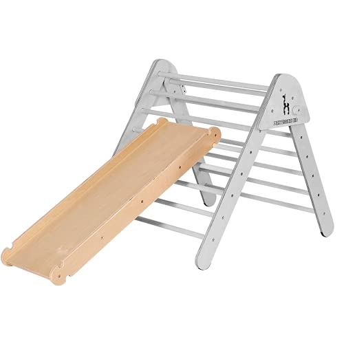 Montessori Kid Rutschbrett Hühnerleiter und Kletterwand für Pikler Dreieck | Nachhaltiges Holz | Indoor Kinder Rutsche für Kletterdreieck Klettergerüst Sprossenwand | 115 cm | Design in Deutschland