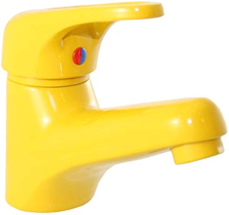 Santras Waschtischarmatur Einhebelmischer mit Ablaufgarnitur Gelb