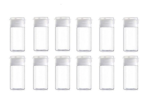 Onwon Travel Size Plastic Empty Squeeze Bottles, 12 Pcs 30ml/1Oz Empty Plastic Sample Bottle Container Jar Pot Vial with Flip Lid Perfect for Emollient Water Shower Gel Emulsion Etc, Used to travel