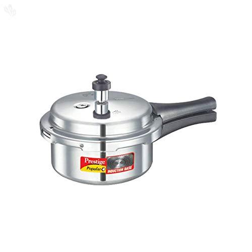Prestige Popular Plus Induction Base Aluminum Pressure Cooker, 2-Liter, Silver