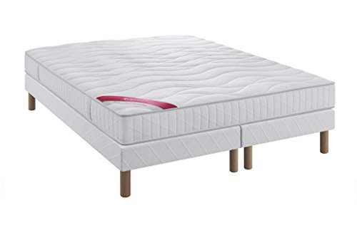Ensemble Equateur Relaxima matelas 100% latex Dunlopillo, Blanc, 160x200