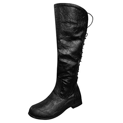 Damen Hohe Stiefel, Damen Braun Leder Stiefel Warm Gefüttert Boots Stiefel Stiefeletten Schnür Schlupfstiefel Spanische Reitstiefel Slim Fit hoch Wildleder Stiefel