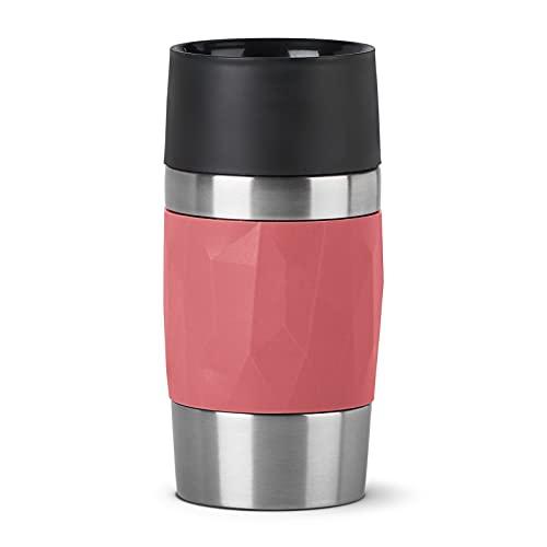 Emsa N21604 Travel Mug Compact Thermo-/Isolierbecher aus Edelstahl | 0,3 Liter | 3h heiß | 6h kalt | BPA-Frei | 100% dicht | auslaufsicher | spülmaschinengeeignet | 360°-Trinköffnung | Korallenrot