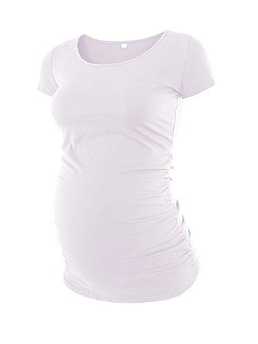 Love2Mi Damen Kurzarm Umstandsshirt Mutterschaft Klassische Seite Geraffte T-Shirt Tops Mama Schwangerschaft Kleidung, Weiß, L