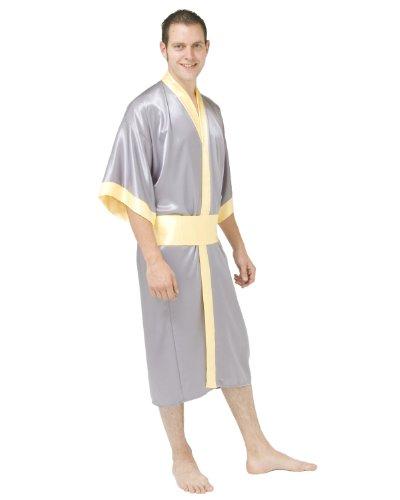 Kimono en satin avec sac assorti libre - taille: SM - couleur: jaune gris argent / or