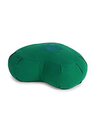 Yoga Studio YS/ZAF/CRES/TURQ/Lot - Cojín de meditación Unisex (alforfón, Hoja de Loto), Color Verde Jade