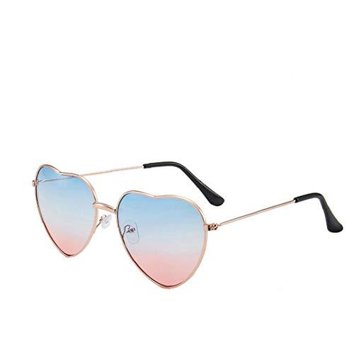 1pcs Occhiali Da Sole a Forma Di Cuore Telaio Sottile in Metallo Occhiali Da Sole Trasparenti Di Colore Della Caramella Occhiali Chic Eyewear Fancy (blue & Pink)