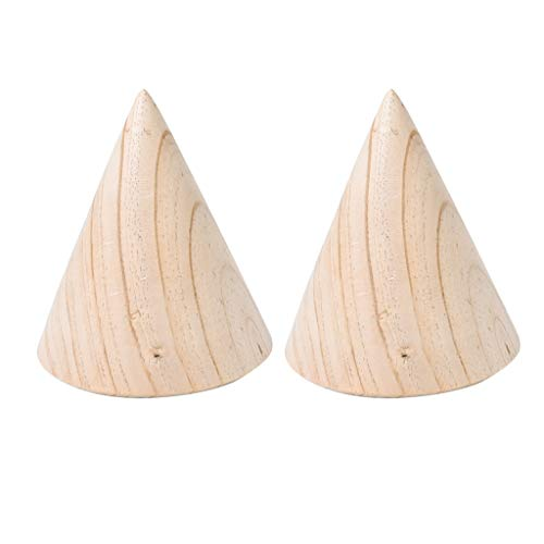Baoblaze 2 Stücke Kegelform Schmuckständer unlackierter Holzkegel-Schmuckständer-Organisator-Präsentationsständer