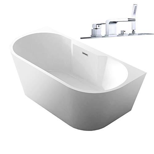 Badkuip NOVA PLUS in sanitair acryl wit - 170 x 80 cm - kranen 6080 optioneel, Incl. Sifon, Met voormontage (5 werkdagen), Met badmixer 6080 chroom