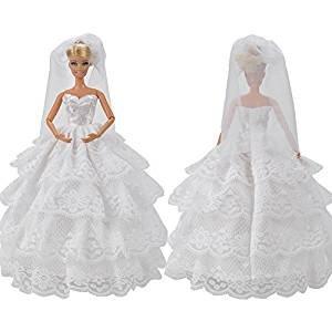 Barbie abito da sposa in pizzo bianco Dettagli Completo di Veil Fit il Barbie Bambola Con Webeauty