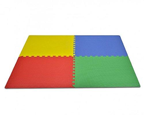 Tappeto Puzzle Protettivo 4 Tessere 60 x 60 x 1 cm Componibili Multicolor Bimbi Fair ShopOnline