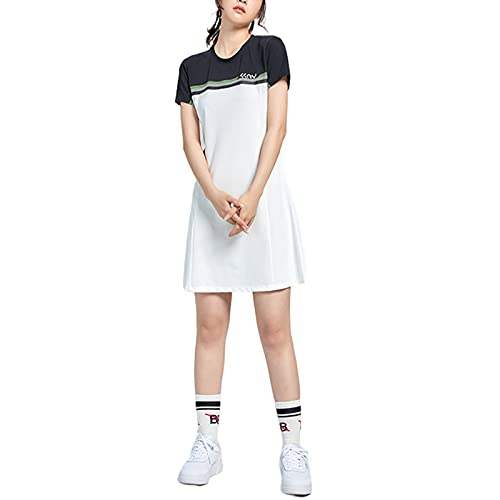 Hhwei Asciugatura Rapida Estiva da Donna Abito Girocollo Manica Corta Gonna da Golf da Tennis