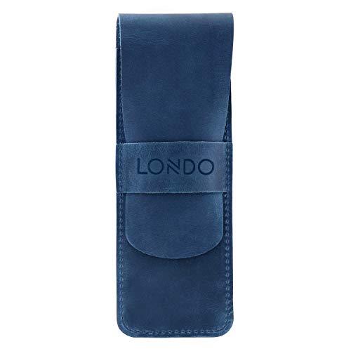 Londo Echtleder Federmäppchen - Bleistift Beutel (Blau)
