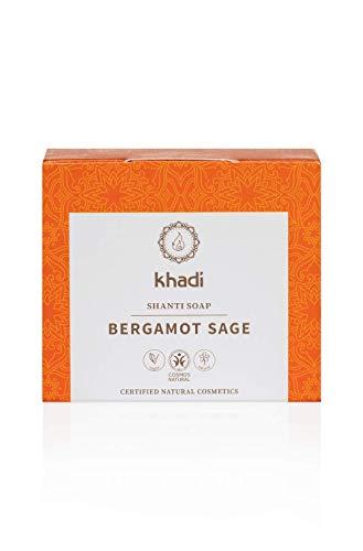 khadi Shanti Soap Bergamot Sage 100 gr I Naturseife aus pflegender Sheabutter und Aloe Vera I Naturkosmetik 100% pflanzlich und vegan