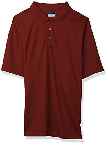 PGA TOUR Men's Big Airflux Short Sleeve Solid Golf Polo-Shirts, Chili Pepper, Large Tall