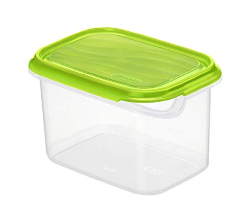 Rotho Rondo Boîte de Conserve de Produits Frais 1L avec Couvercle, Plastique (PP) sans BPA, Verte/Transparente, 1L (16,0 x 12,0 x 9,5 cm)
