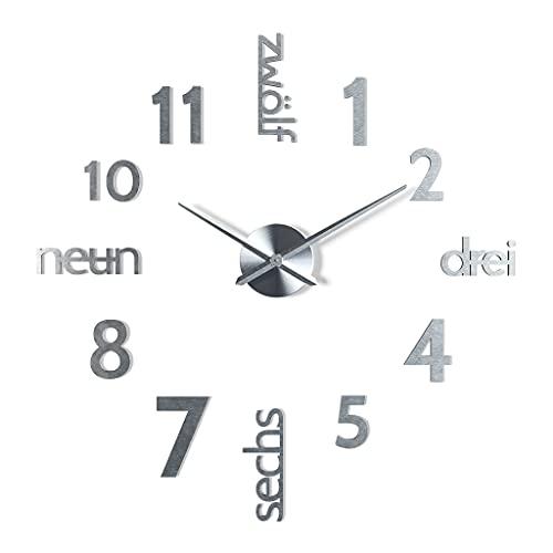 Cander Berlin MNU 0180 P XXL - Orologio da parete da parete in acciaio inox argentato, silenzioso, analogico e moderno, 100 cm, grande