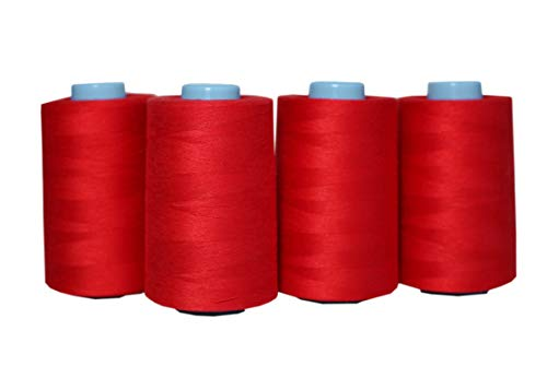 4 Pack of 6000 Yards(24000 Total) Serger Sewing Thread All Purpose Polyester Spools overlock Cone (4 x 6000 Yards Red)