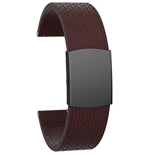 SOUWILA Correa Reloj Recambios Correa Relojes Caucho 16/18/20/22/24mm Silicona Correa Reloj con Acero Inoxidable Hebilla Desplegable 22mm, Brown-Black