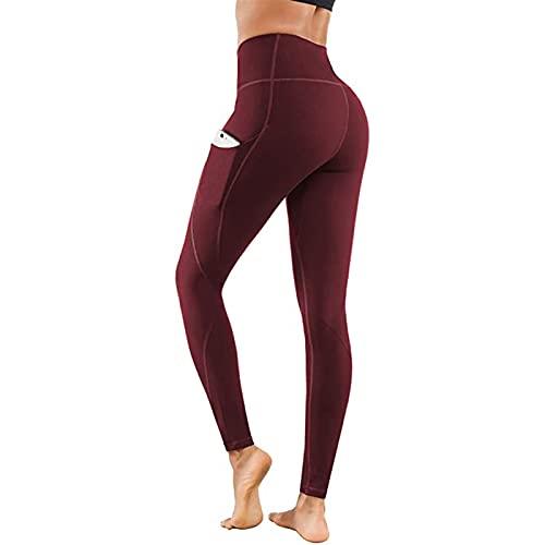 Pantalones de yoga de cintura altos para las mujeres Pantalones largos de cintura elástica con pantalones de bolsillo Slim Sport Pantalones para correr al aire libre para cada temporada, FITS para el