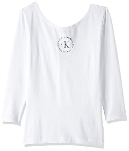 Calvin Klein Jeans Damen Ck Round Logo Ballet Top T-Shirt, Weiß (Bright White Yaf), 36 (Herstellergröße: Medium)