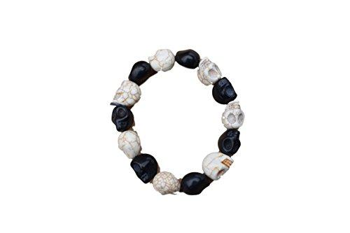 Crâne Gothique Bracelet noir blanc