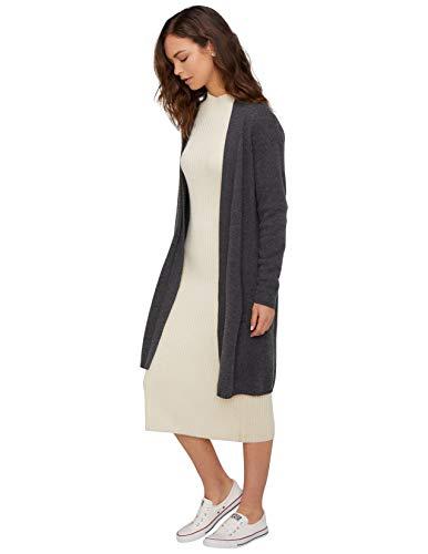 State Cashmere Damen Lang Offener Vorderseite Strickjacke 100% Reiner Kaschmir Übergroße Langarm Pullover Mantel (Small, Holzkohle)