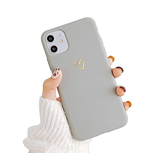 Seafirst Kompatibel mit iPhone 11 Hülle für Herz Muster Weiches Flüssiges Silikon für Frauen Mädchen Slim Stoßfest Schutzhülle für iPhone 11-Gray