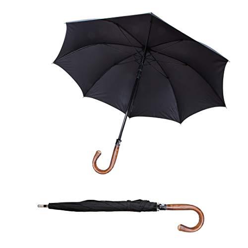 Sicherheitsschirm | Großer XXL Selbstschutz Regenschirm | Stockschim mit einer 103cm Länge | Regenschutz, Gehhilfe & Selbstverteidigung | Für große Frauen Männer + Senioren | Security Golfschirm