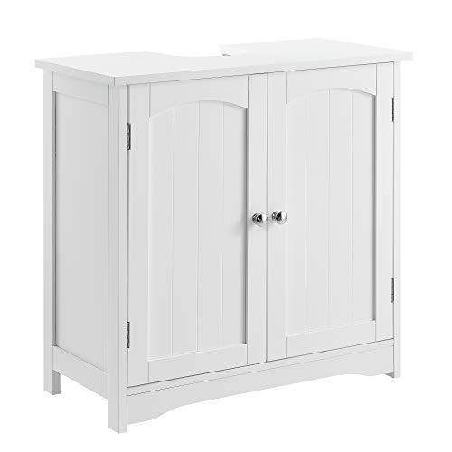 [en.casa] Badezimmerschrank Weiß - 60 x 60 x 30cm - Unterschrank Waschtisch Badmöbel