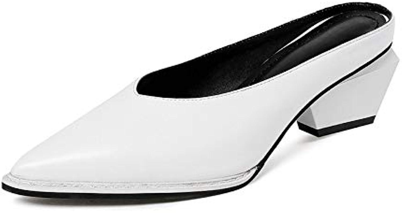 MENGLTX 2018 Sommer Marke Schwarz Leder Pantoletten High Strange Heels Slip-On Schuhe Frau Spitz Lady Freizeitschuh