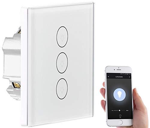 Luminea Home Control WiFi Lichtschalter: Touch-Dreifach-Lichtschalter, komp. zu Amazon Alexa & Google Assistant (Lichtschalter WLAN)