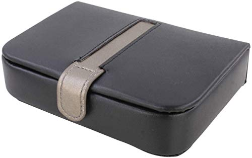 Mele & Co Jamie Black Bonded Leather Cufflink Box, 16 cm x 11 cm x 4 cm