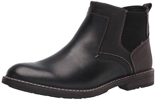 Nunn Bush Men's Fuse Plain Toe Chelsea Boot with Easy Pull ON Elastic Panels, Black Multi, 9.5