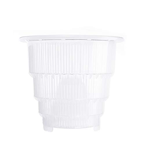 Clear PP Plastic Orchid Pot with Holes, 5inch/ 6inch/ 7inch Mesh Pot Plastic Clear Orchid Flower Container Planter Home Gardening Decoration(6 Inch)