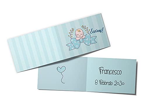 110 Bigliettini Bomboniera Fiocco Azzurro Battesimo Nascita