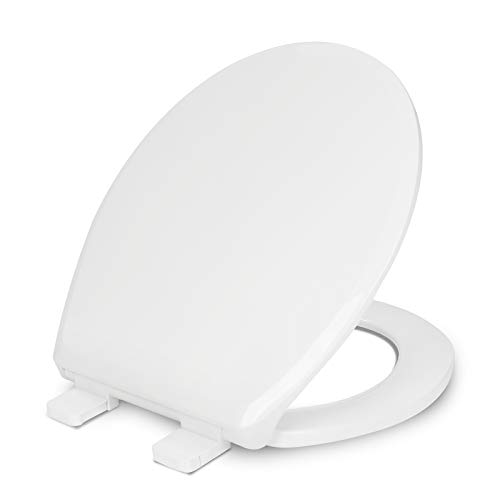 Round Toilet Seat, Soft Close Toilet Seat with Standard Seat and Cover, Easy to Install Durable Plastic White Toilet Seat, Quiet Close Seat