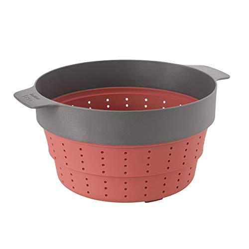 Berghoff 3950152 Dampfgarer und Sieb, faltbar, Silikon, Rosa/Grau