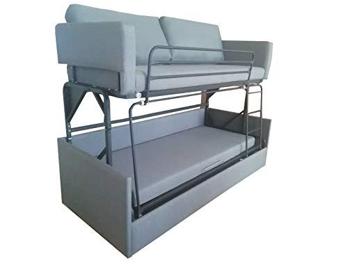 Platinum Furniture - Litera de sofá transformable en Tela Gris – sofá Plegable, Cama Doble