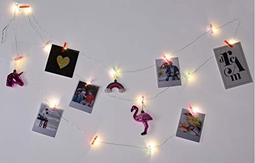 Spetebo wasknijpers lichtketting voor foto's met 16 leds/clips - 16 kleurrijke LED's - foto lichtketting bont clip lichtketting voor foto's fotohouder