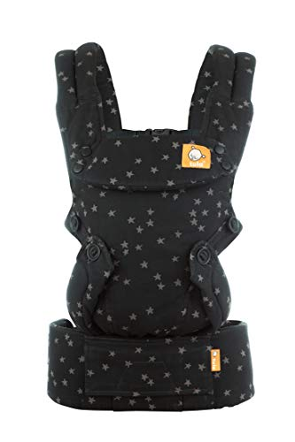 Baby Tula Explore Baby Carrier 7 – 45 lb, Adjustable Newborn to Toddler Carrier, Multiple Ergonomic Positions, Front and Back Carry, Easy-to-Use, Lightweight – Discover, Black with Gray Stars