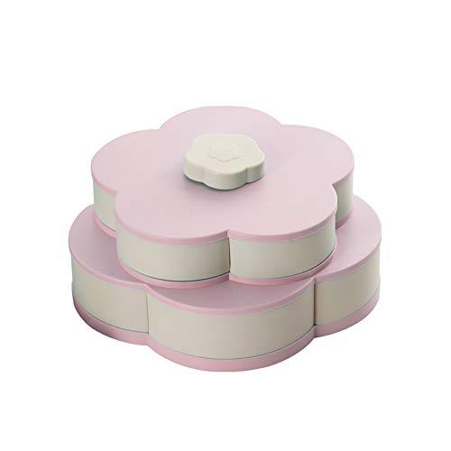 Blumen-Rotating-Süßigkeit-Kasten-Rosa 2 Schicht Getrocknete Obstteller Hochzeit Snack Serviertablett Rosa