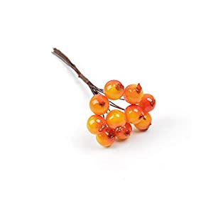 shop 1994 10Pcs Cherry Berry Christmas Artificial Flowers Stamen Wedding Party Decoration DIY Handcraft Wreath Cake Gift Xmas Fake Flowers-Orange-