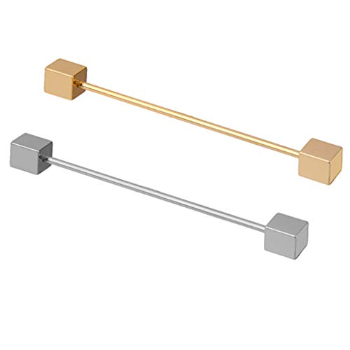 F Fityle 2 Piezas de Cuello de Hombre Clásico Barbell Tie Pin Bar Clip Camisas Corchetes Extremo Cuadrado - Extremo Cuadrado (6.7cm Largo en Total)