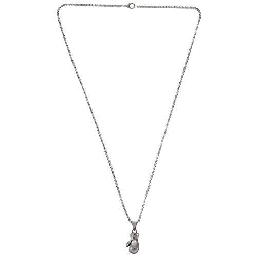 TOOGOO Jewelry Collar para Hombre - Cadena, Guantes de Boxeo, Colgante, 55 Cm Ajustable - Acero Inoxidable - para Hombres y Mujeres - Color Plata - Longitud 55 Cm - con Bolsa de Regalo