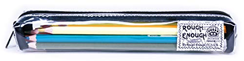 Rough Enough Clear Slim Cute Cool Japanese Small Pencil Case Pouch Pen Holder Organizer Chopstick Spoon Case Pouch Bag with Zipper for School Office Student Stationery Art Paint Supplies Accessories